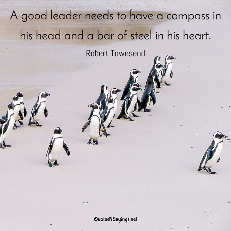 A good leader needs to have a compass in his head and a bar of steel in his heart. - Robert Townsend quote