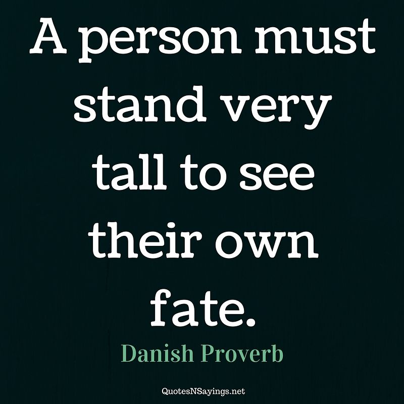Danish Proverb - A person must stand ...