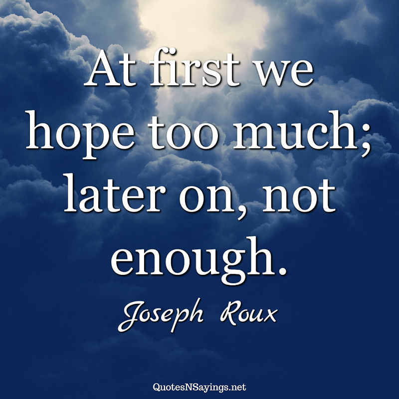 Joseph Roux quote - At first we hope ...