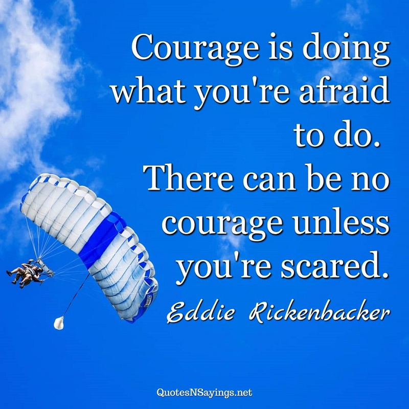 Courage is doing what you're afraid to do. There can be no courage unless you're scared. - Eddie Rickenbacker quote