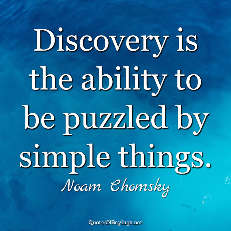 Noam Chomsky quote - Discovery is the ability