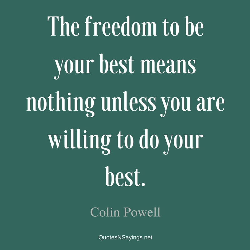 The freedom to be your best means nothing unless you are willing to do your best. - Colin Powell Quote