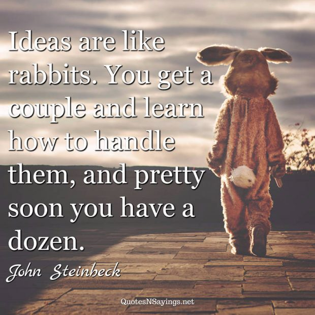 Ideas are like rabbits. You get a couple and ... | John ...