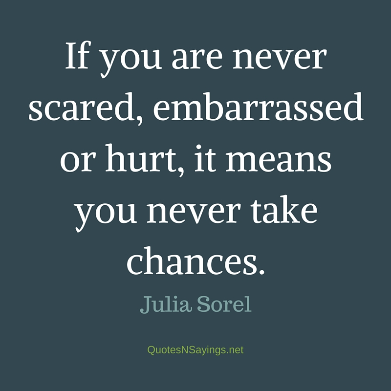 If you are never scared, embarrassed or hurt, it means you never take chances. - Julia Sorel quote