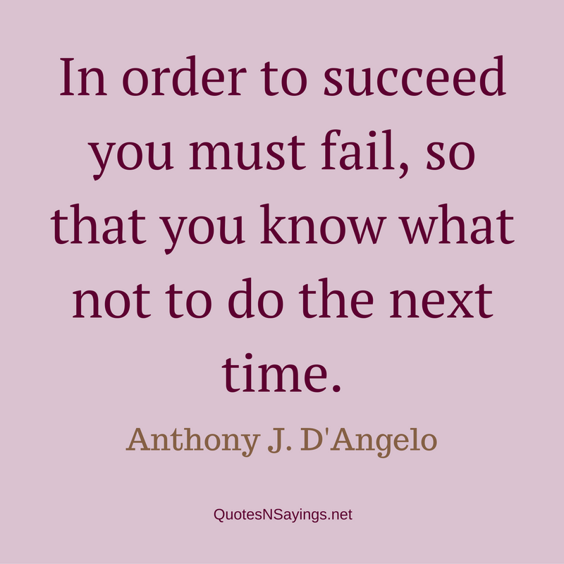 In order to succeed you must fail, so that you know what not to do the next time. - Anthony J. D'Angelo Quote