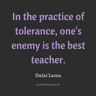 Dalai Lama – In the practice of tolerance …