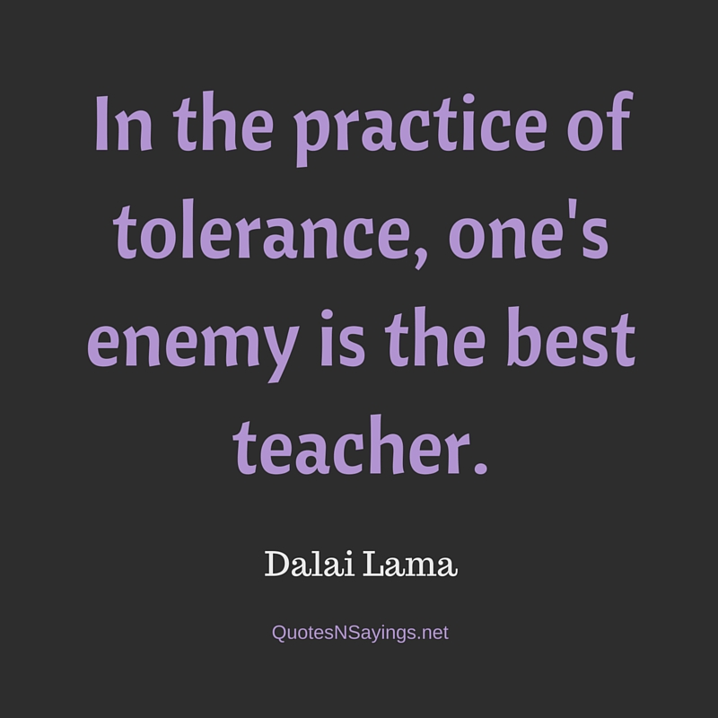 In the practice of tolerance, one's enemy is the best teacher - Dalai Lama quote