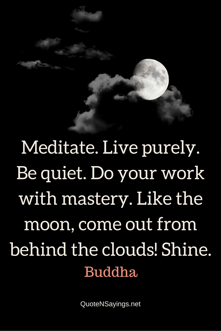 Meditate. Live purely. Be quiet. Do your work with mastery. Like the moon, come out from behind the clouds! Shine. - Buddha quote