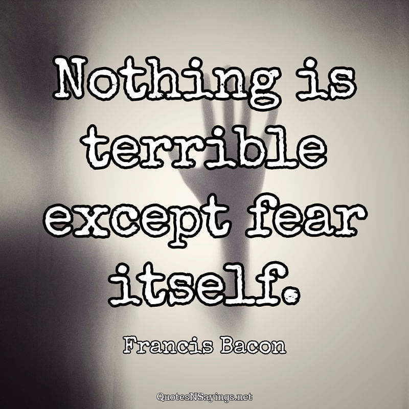 Nothing is terrible except fear itself. - Francis Bacon quote