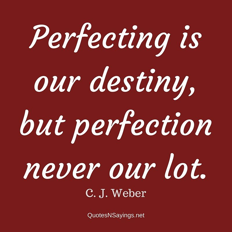 Perfecting is our destiny, but perfection never our lot. - C. J. Weber quote