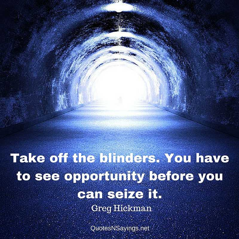Take off the blinders. You have to see opportunity before you can seize it - Greg Hickman quote