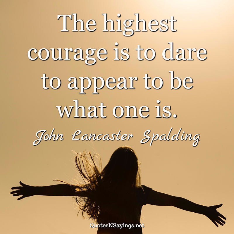 John Lancaster Spalding quote - The highest courage ...