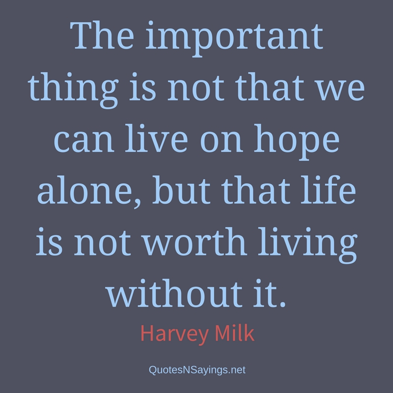 The important thing is not that we can live on hope alone, but that life is not worth living without it. - Harvey Milk Quote