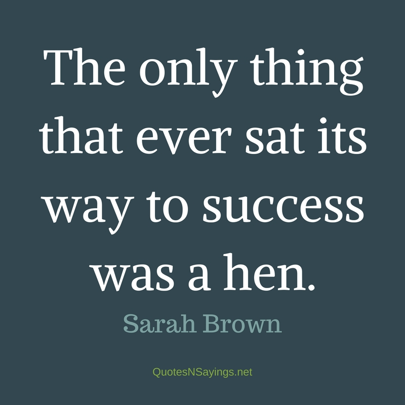The only thing that ever sat its way to success was a hen. - Sarah Brown quote