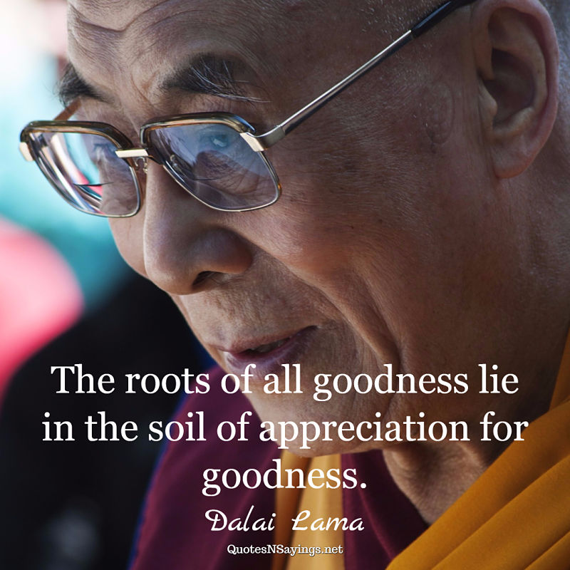 Dalai Lama quote - The roots of all goodness ...