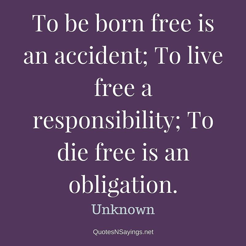 Anonymous Quote - To be born free is an accident ..