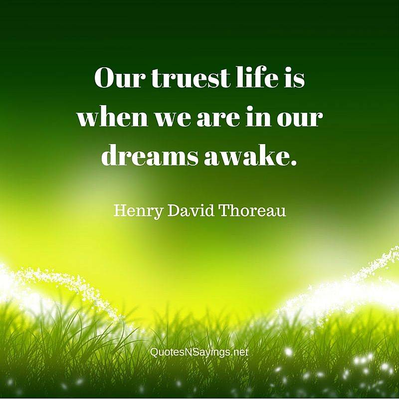 Quotes About Life And Dreams: Our Truest Life Is When We Are