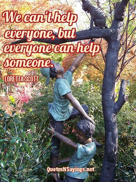 We can't help everyone, but everyone can help someone ~ Loretta Scott quote