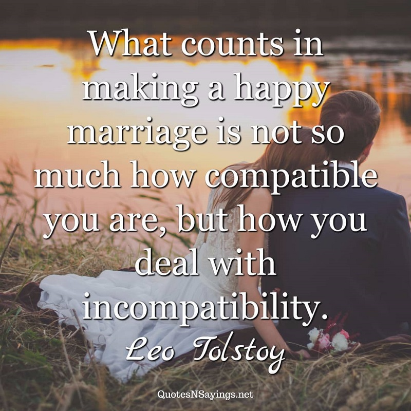 What counts in making a happy marriage is not so much how compatible you are, but how you deal with incompatibility. - Leo Tolstoy quote.
