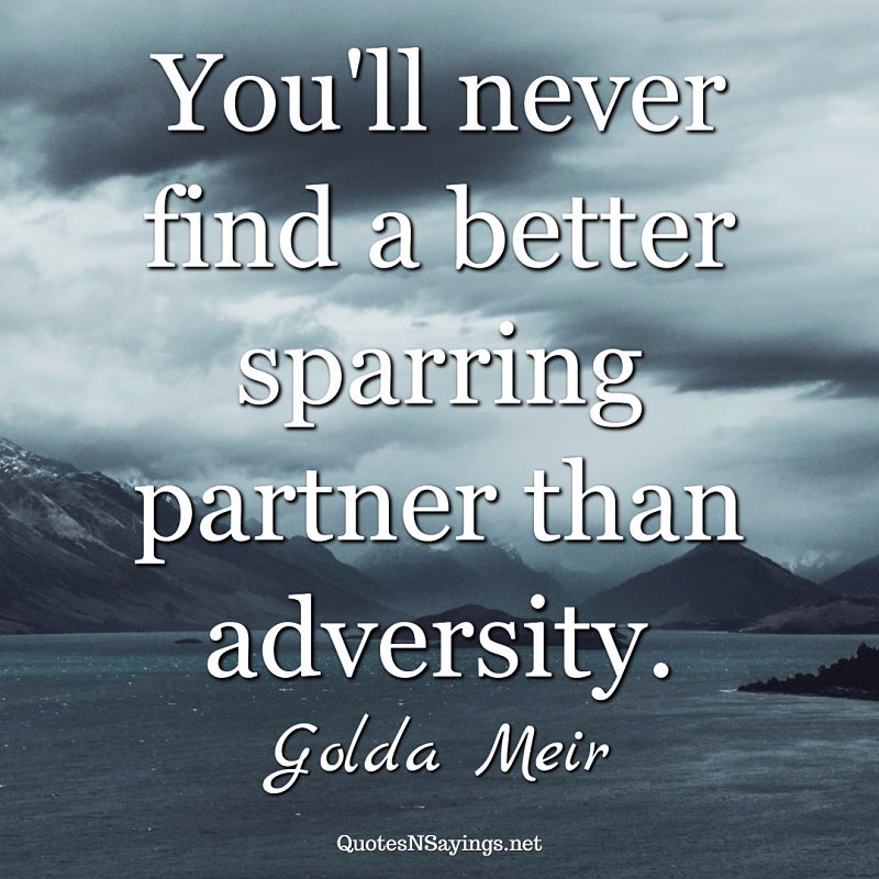 You'll never find a better sparring partner than adversity. - Golda Meir quote
