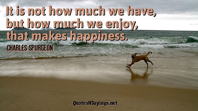 It is not how much we have, but how much we enjoy, that makes happiness. - Charles Spurgeon quote