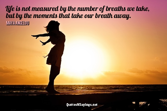 Life is not measured by the number of breaths we take, but by the moments that take our breath away ~ Maya Angelou quote about life