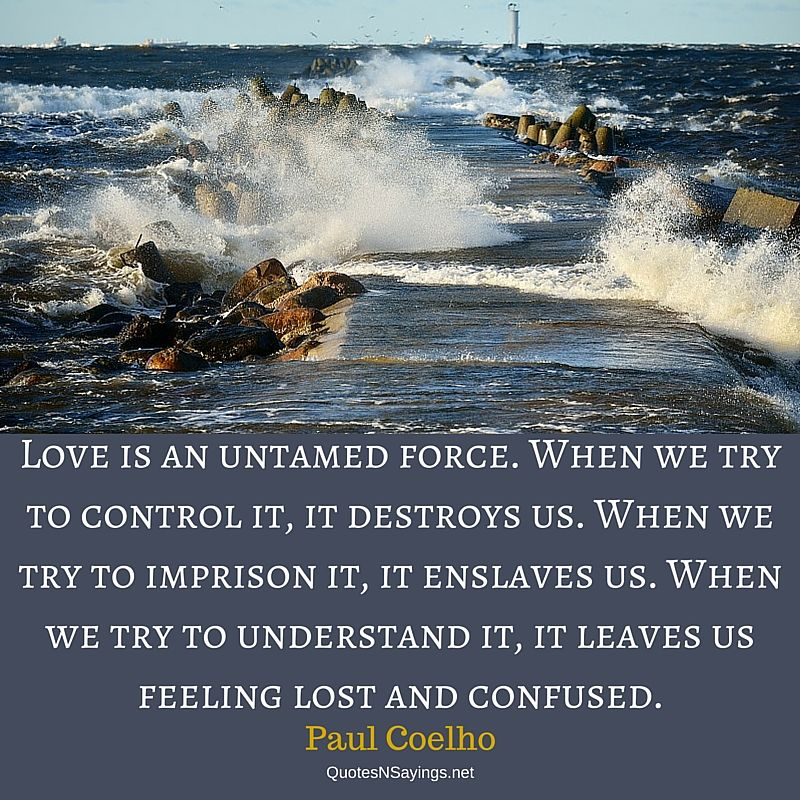 Love is an untamed force - Paul Coelho quote