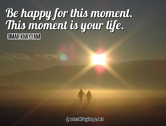 Be happy for this moment. This moment is your life. - Omar Khayyam quote