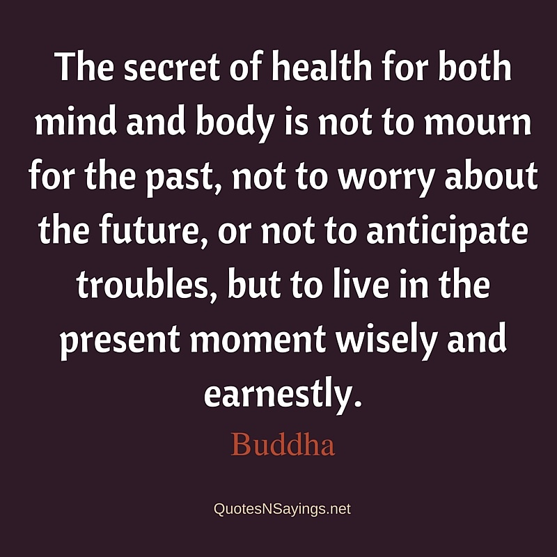 The secret of health for both mind and body is not to mourn for the past - Buddha quote