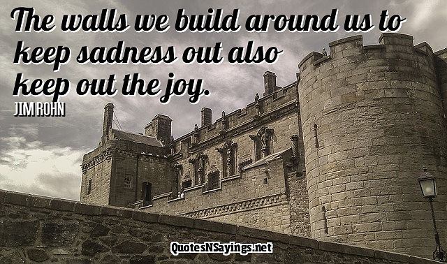 The walls we build around us to keep sadness out also keep out the joy - Jim Rohn quote