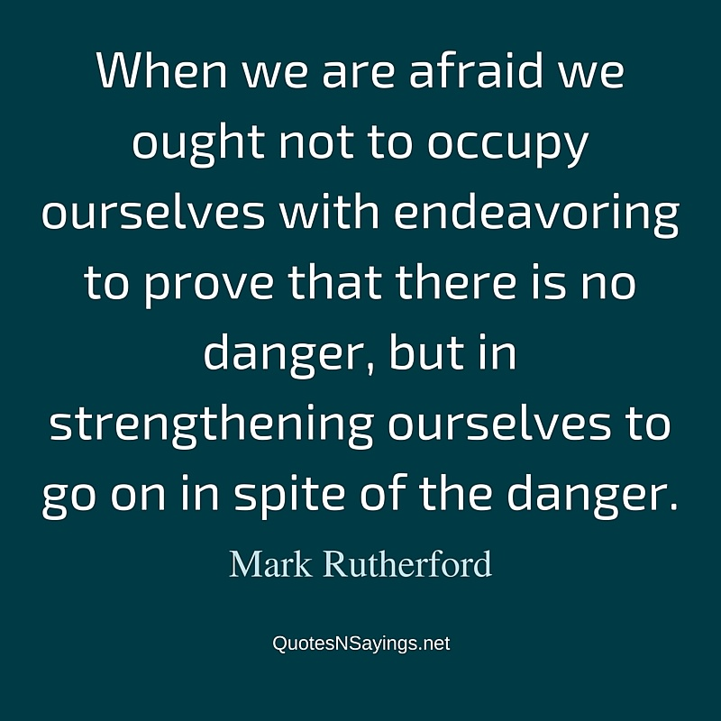 When we are afraid we ought not to occupy ourselves with endeavoring to prove that there is no danger, but in strengthening ourselves to go on in spite of the danger. - Mark Rutherford quote