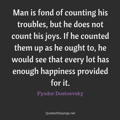 Fyodor Dostoevsky Quote – Man is fond of counting his …