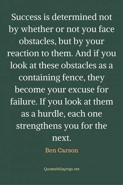 Ben Carson Quote – Success is determined …