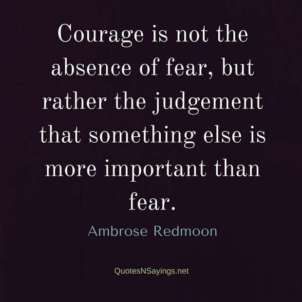 Ambrose Redmoon – Courage is not the absence of fear …