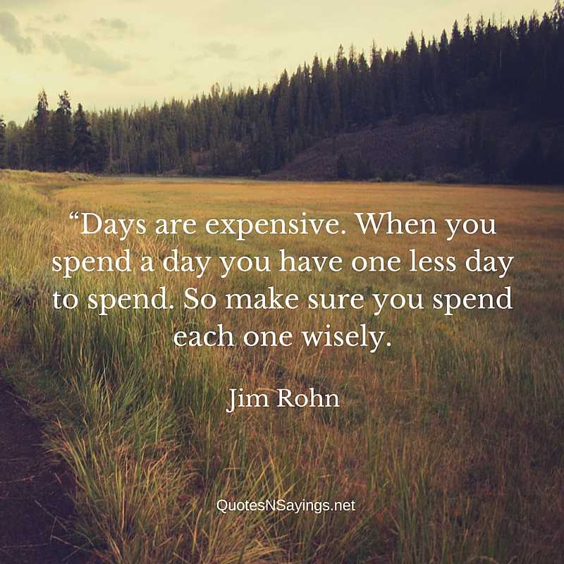 Jim Rohn Quotes - Days are expensive