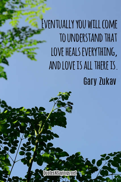 Eventually you will come to understand that love heals everything, and love is all there is - Gary Zukav quote