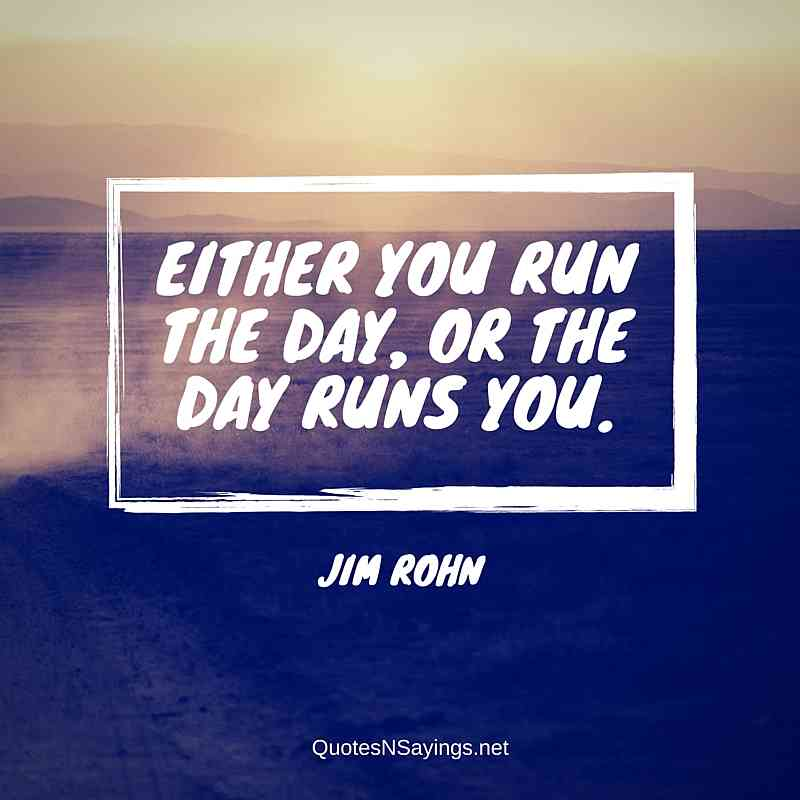 Jim Rohn Quotes - Either you run the day