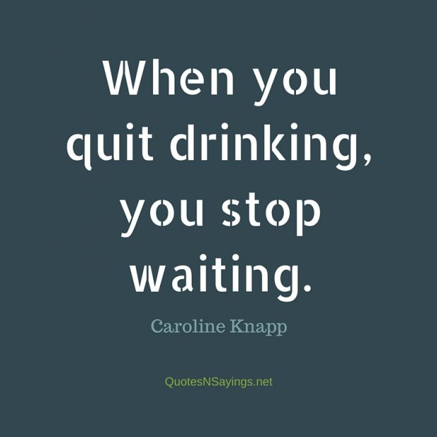 Caroline Knapp Quote - When you quit drinking, you stop