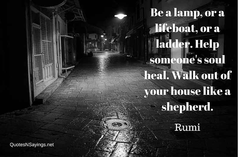 Be a lamp, or a lifeboat, or a ladder. Help someone's soul heal. Walk out of your house like a shepherd - Rumi quote about healing