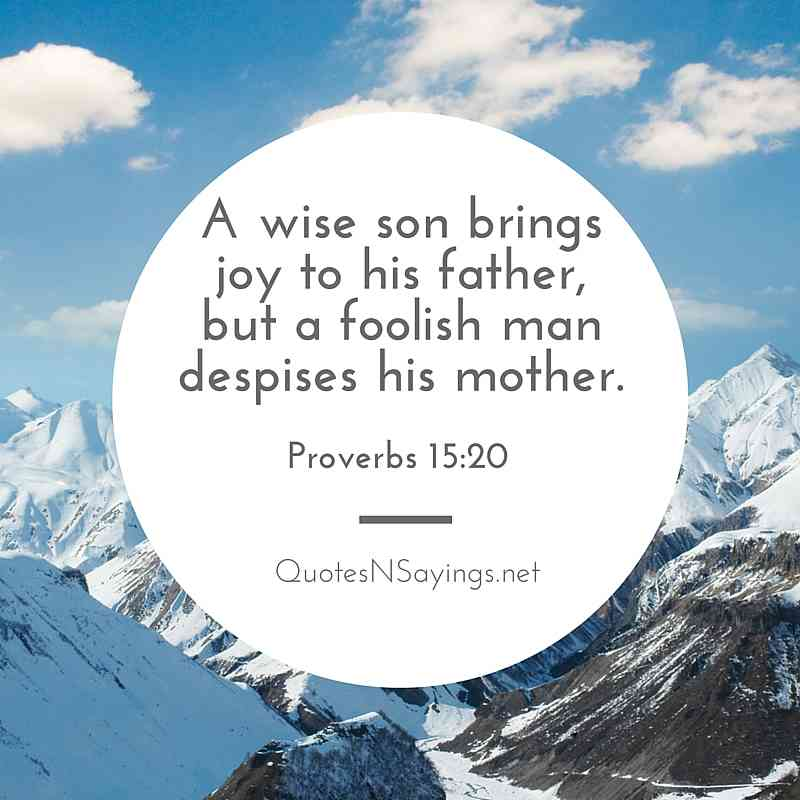 A Wise Son Brings Joy To His Father - Proverbs 15:20