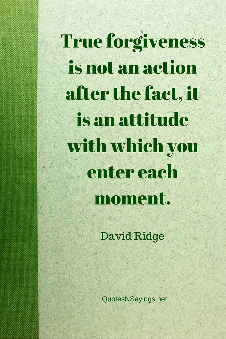 David Ridge quote - True forgiveness is not an action after the fact, it is an attitude with which you enter each moment.