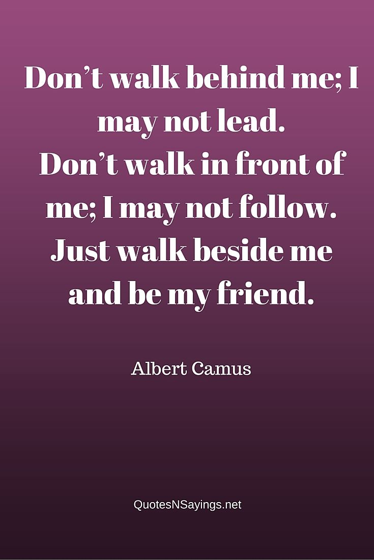 Albert Camus Friendship Quote - Don't walk behind me; I may not lead.