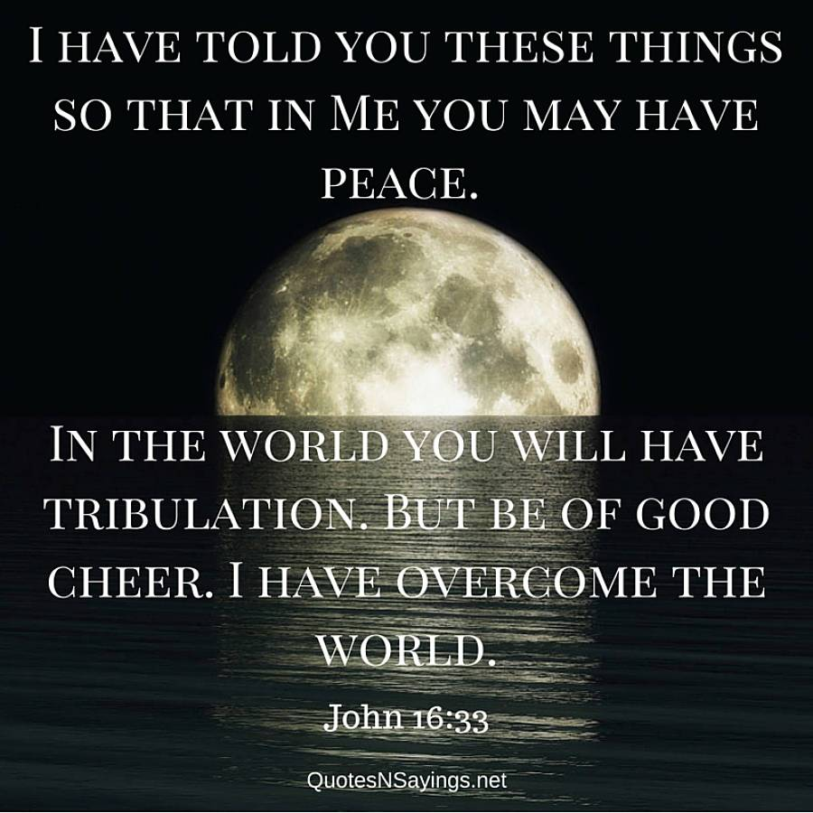 I have told you these things - John 16:33