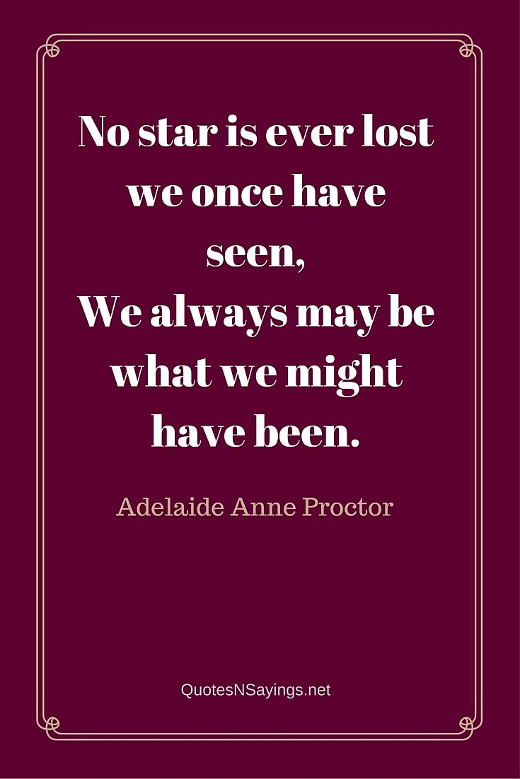 No star is ever lost we once have seen, We always may be what we might have been ~ Adelaide Anne Proctor quote