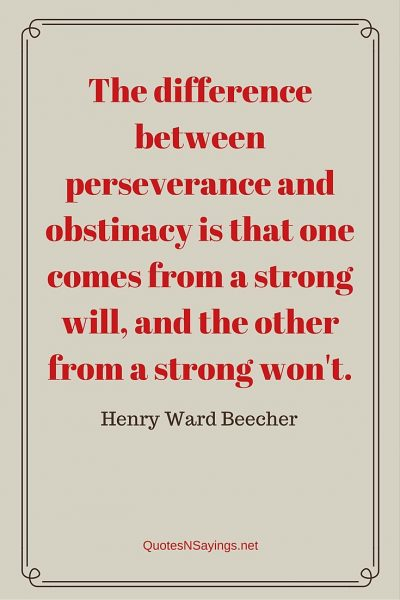 Henry Ward Beecher Quote – The difference between perseverance …