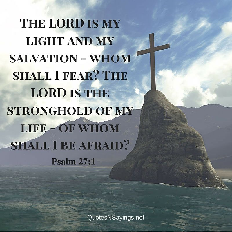 The LORD is my light and my salvation - whom shall I fear? The LORD is the stronghold of my life - of whom shall I be afraid? - Psalm 27:1
