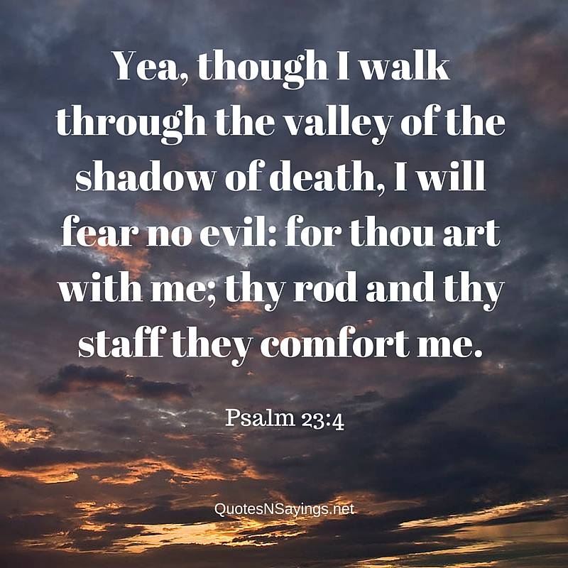 Scriptures on comfort - Yea Though I Walk Through The Valley Of Death - Psalm 23:4