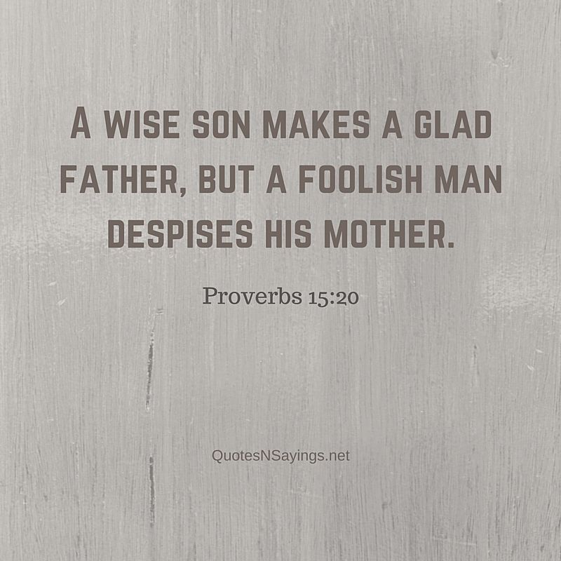 A wise son makes a glad father, but a foolish man despises his mother ~ Proverbs 15:20