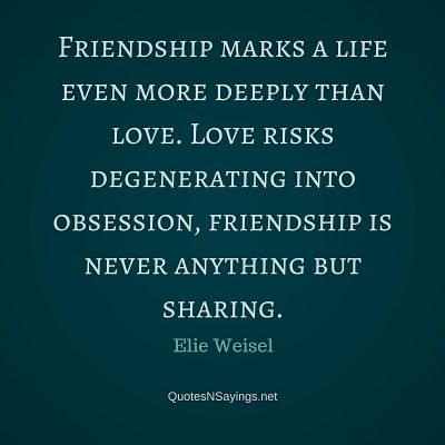 Elie Weisel Quote – Friendship marks a life …