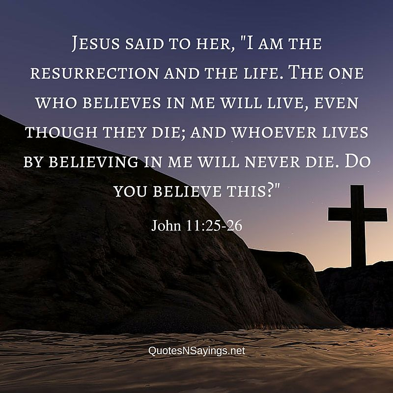 "Bible verses about death : Jesus said to her, ""I am the resurrection and the life. The one who believes in me will live, even though they die; and whoever lives by believing in me will never die. Do you believe this?"" ~ John 11:25-26"